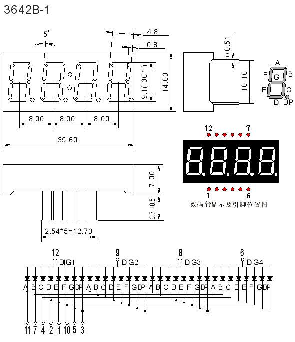 首页 产品及应用 数码管 四位数码管 0.36英寸 0.
